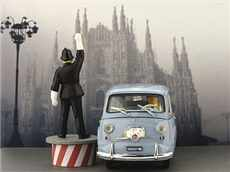 FIAT 600 D MULTIPLA CIRCUALITION PLACE DUOMO A MILAN 1960 S FIGURKOU